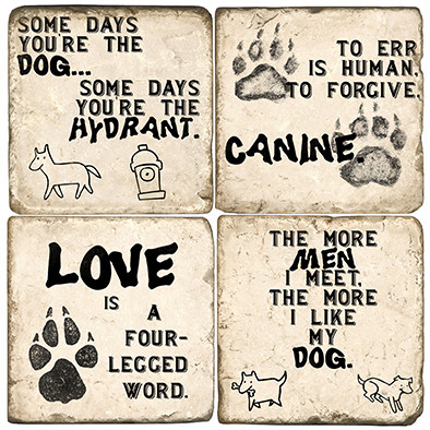 Black and White Dog Quote Coaster Set
