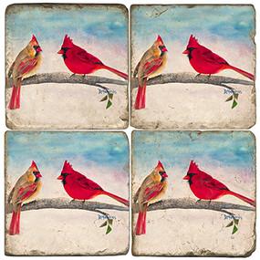 Colorful Painted Cardinals Coaster Set