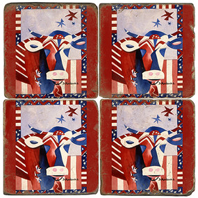 American Flag Painted Cow Coaster Set