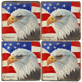 American Eagle with Flag Coaster Set
