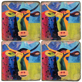 Colorful Cow Coaster Set. Painting by Madaras Gallery.