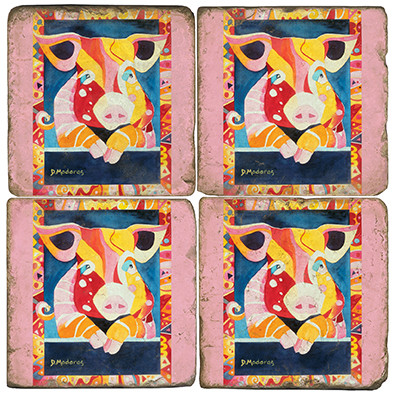 Colorful Pig Coaster Set. Painting by Madaras Gallery.