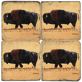 Wild Buffalo Coaster Set.  Painted by Madaras Gallery