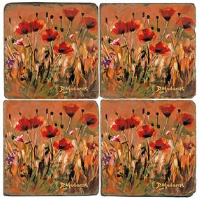 Colorful Wild Poppies Coaster Set