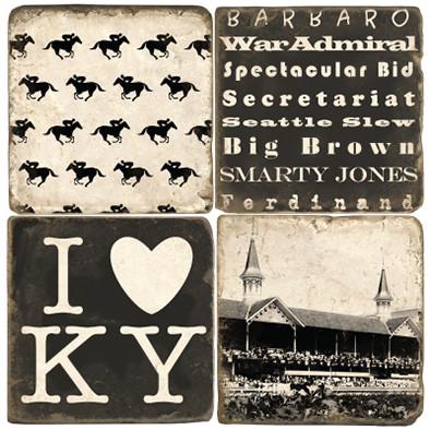 Kentucky Derby Themed Coaster Set.  Handmade Marble Giftware by Studio Vertu.