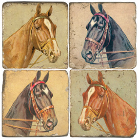 Horse head coaster set