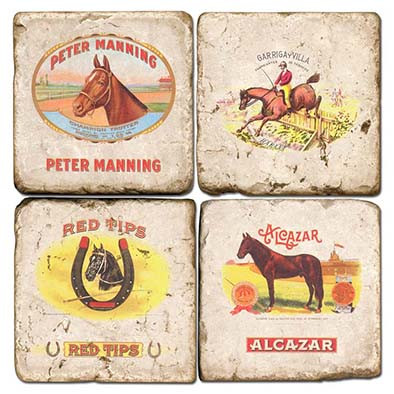 Horse Themed Cigar Labels Coaster Set