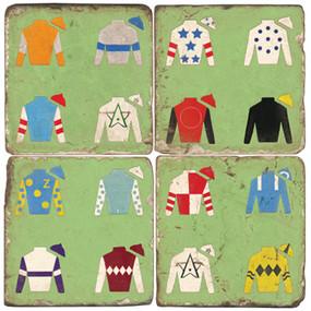 Jockey Jacket Coaster Set. Handmade Marble Giftware by Studio Vertu.