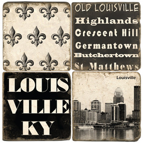 Black and White Louisville Coaster Set. Handmade Marble Giftware by Studio Vertu.