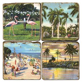 Tropical Florida Beach Themed Coaster Set. Handmade Marble Giftware by Studio Vertu.
