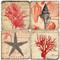 Red Coral Coaster Set. Handmade Marble Giftware by Studio Vertu.