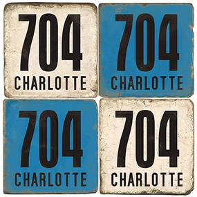 Charlotte, North Carolina Area Code Coaster Set