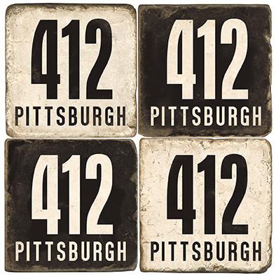Pittsburgh Area Code 412 Coaster Set. Handmade Marble Giftware by Studio Vertu.