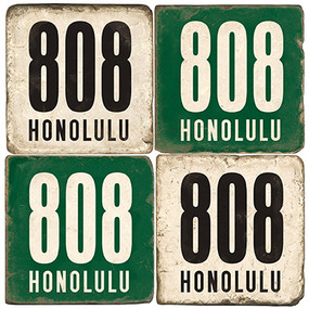 Honolulu Area Code 808 Coaster Set