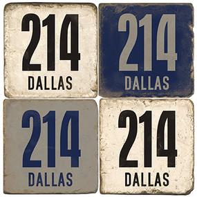 Dallas Texas Area Code 214 Coaster Set