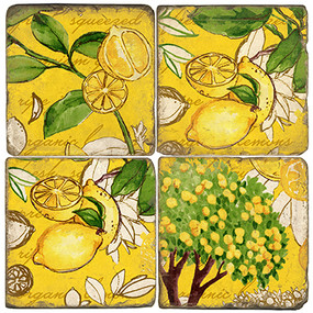 Yellow Lemon Zest Coaster Set. Handmade Marble Giftware by Studio Vertu.