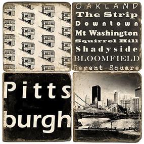 Black and White Pittsburgh Coaster Set. Handmade Marble Giftware by Studio Vertu.