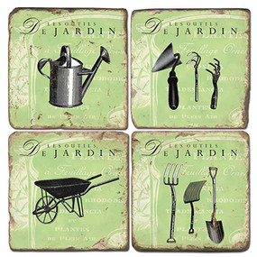 Garden Tools Coaster Set