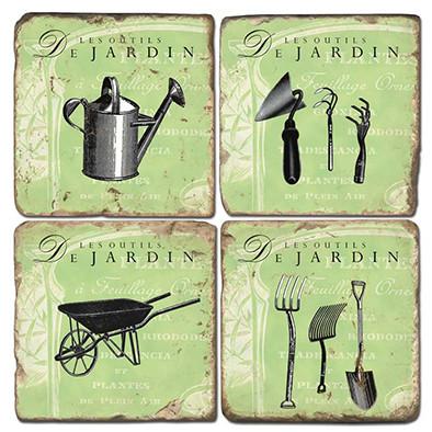 Garden Tools Coaster Set
