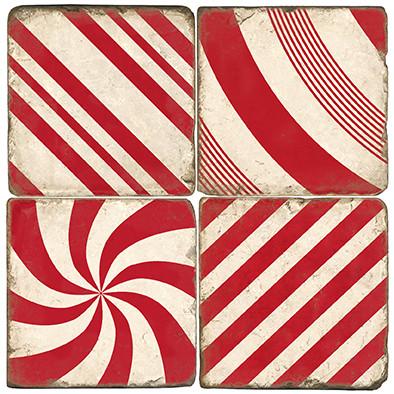 Candy Cane Stripe Coaster Set