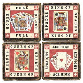 Playing Cards Coaster Set. Handmade Marble Giftware by Studio Vertu.