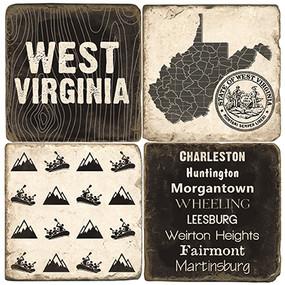Black & White West Virginia Coaster Set