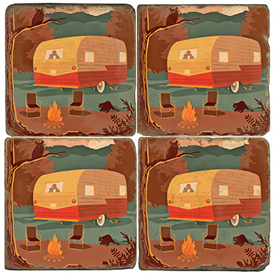 Camper coaster set.  Illustration by Anderson Design Group.