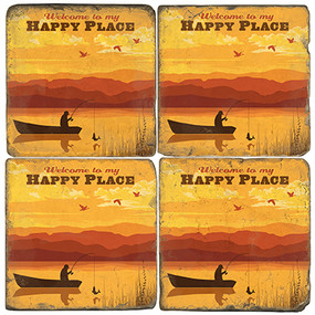 Lake Fishing Themed Coaster Set.  Illustration by Anderson Design Group.