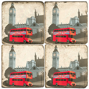 London Red Bus Coaster Set.  Illustration by Anderson Design Group.