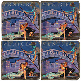 Venice, Italy Coaster Set. Illustration by Anderson Design Group. Handmade Marble Giftware by Studio Vertu.