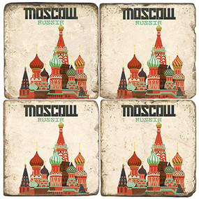 Moscow, Russia Coaster Set. Illustration by Anderson Design Group.