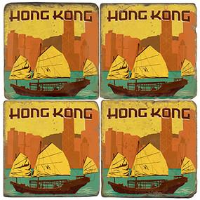 Hong Kong, China Coaster Set.  Illustration by Anderson Design Group.
