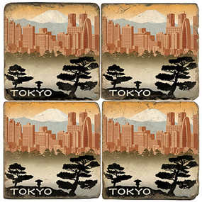 Tokyo, Japan Coaster Set.  Illustration by Anderson Design Group.