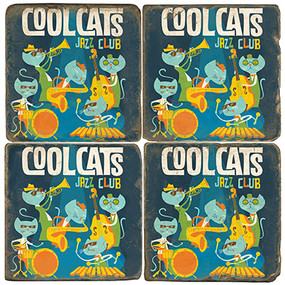 Cool Catz Coaster Set. License artwork by Anderson Design Group.