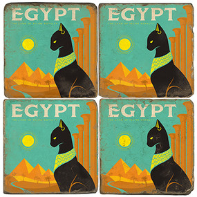 Egyptian Cat Coaster Set. License artwork by Anderson Design Group.