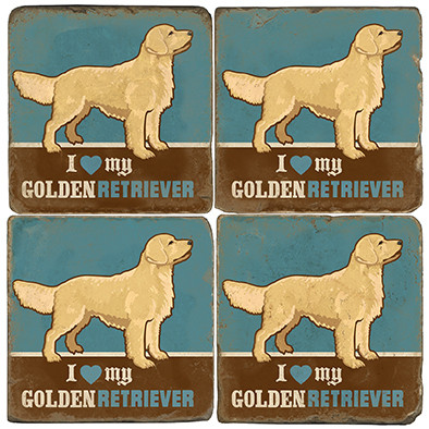 Golden Retriever Coaster Set. License artwork by Anderson Design Group.