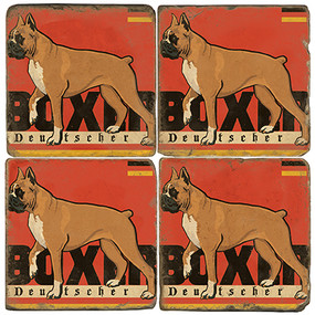 Boxer Deutscher Coaster Set. License artwork by Anderson Design Group.