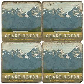 Grand Teton National Park Coaster Set. License artwork by Anderson Design Group. Handmade Marble Giftware by Studio Vertu.