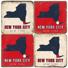New York Coaster Set.  Tumbled Italian Marble.  Handmade in the USA.