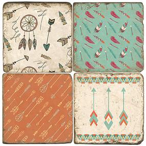 Tribal Arrow Coaster Set.  Tumbled Italian Marble Giftware by Studio Vertu.