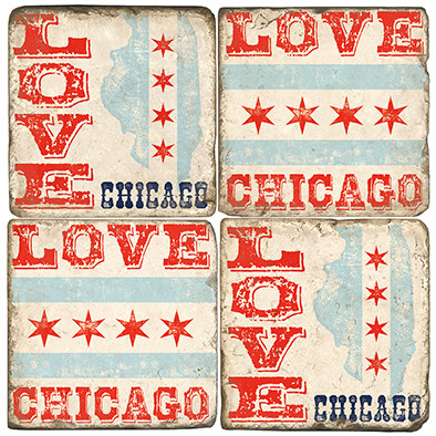 Chicago Coaster Set.  Tumbled Italian Marble Giftware by Studio Vertu.