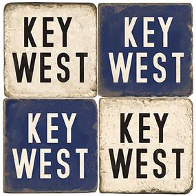 Key West Coaster Set. Tumbled Italian Marble Giftware.  Handmade by Studio Vertu.