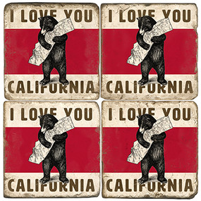California Bear Coaster Set.  Tumbled Italian Marble Giftware by Studio Vertu.