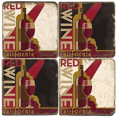 California Wine Coaster Set. License artwork by Anderson Design Group. Tumbled Italian Marble Giftware by Studio Vertu.