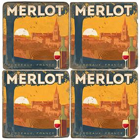 Merlot Coaster Set. License artwork by Anderson Design Group. Tumbled Italian Marble Giftware by Studio Vertu.