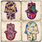 Floral Hamsa Hand.  Tumbled Italian Marble Giftware by Studio Vertu.