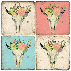 BULLtiful Floral Skull Coaster Set.  Hand Made Marble Giftware by Studio Vertu.