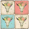 BULLtiful Floral Skull Coaster Set.  Hand Made Marble Giftware by Studio Vertu.