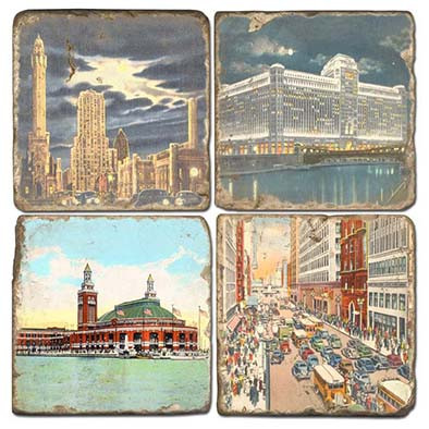 Chicago Coaster Set.  Hand Made Marble Giftware by Studio Vertu.