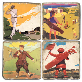 Vintage Illustrated Golf Coaster Set. Handmade Marble Giftware by Studio Vertu.